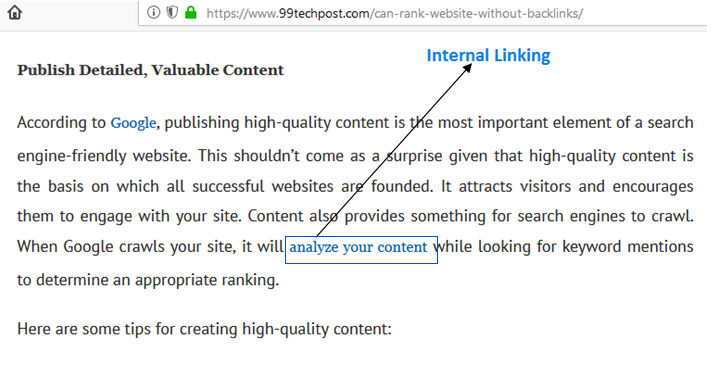 Internal linking seo best on page technique